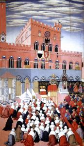 Sano di Pietro, Bernardin prêchant sur le Campo de Sienne, vers 1445. - Sienne, Museo dell'Opera Metropolitana